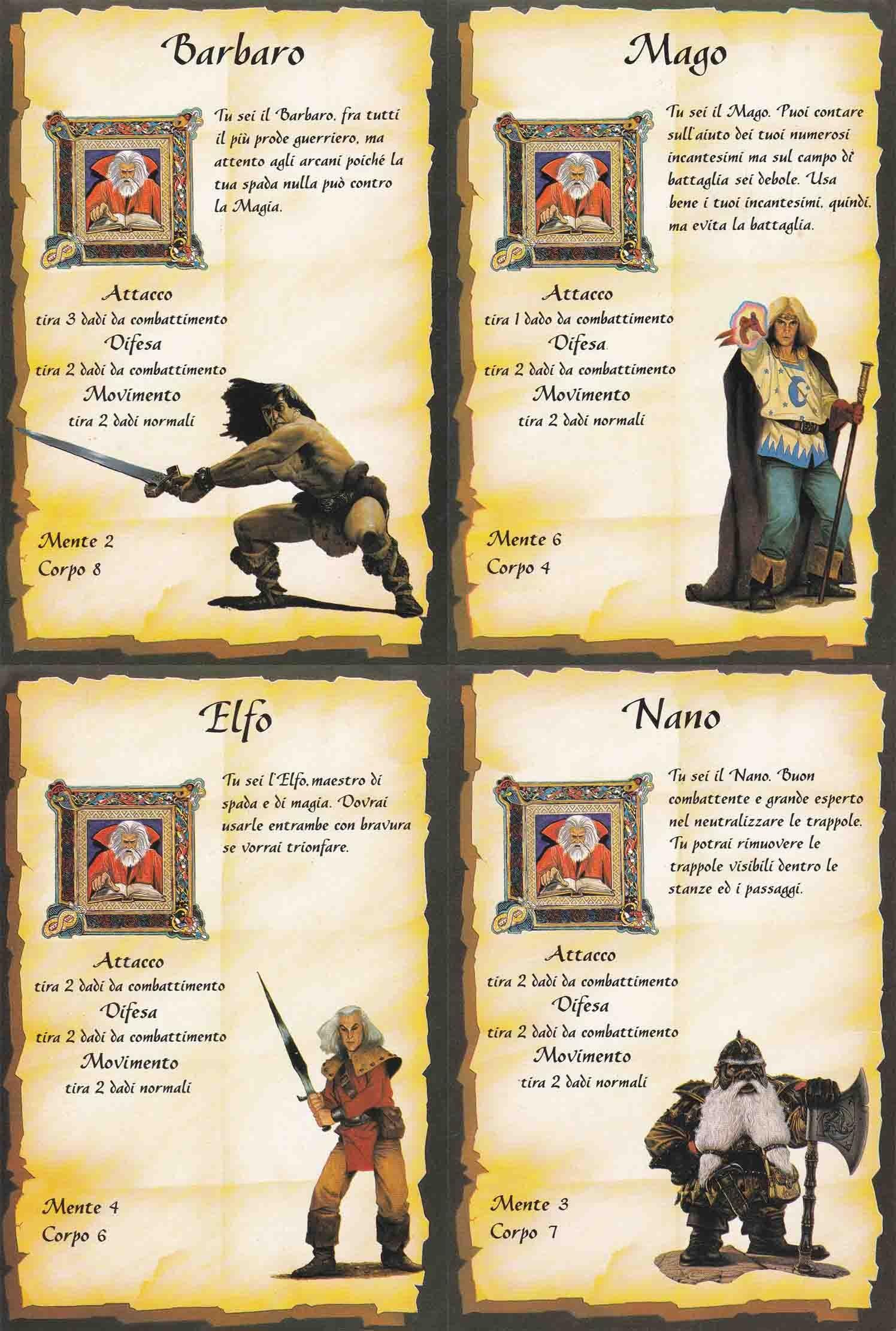 Schede Personaggi (scansione edizione italiana)